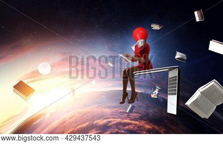 Light bulb headed woman. Business efficiency concept.