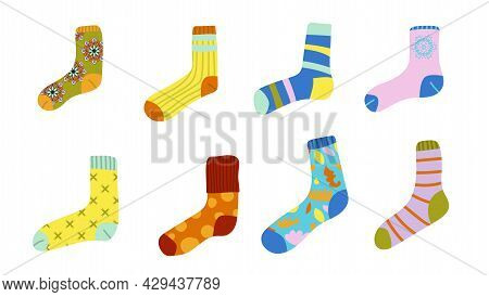 Cute Set Of Different Socks With Textures, Ornaments, Stripes. Flat Childlike Style. Modern Cartoon