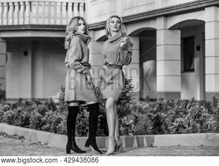 Warm Oversized Sweaters. Women Wear Sweaters. Elongated Sweatshirts Tunics Or Dress. Girls Look Very