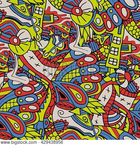 Cute Abstract Doodle Artistic Sketch Seamless Pattern. Background With Crazy Messy Doodle Art With D