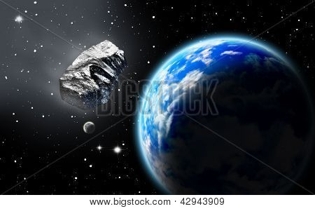 Asteroid In Space Approaching Earth