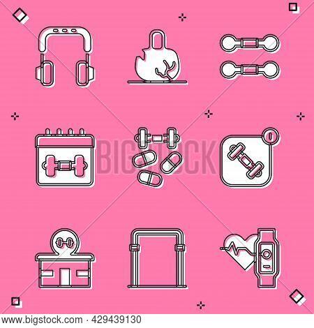 Set Headphones, Broken Weight, Dumbbell, Calendar Fitness, Sports Doping With Dumbbell, Fitness App,