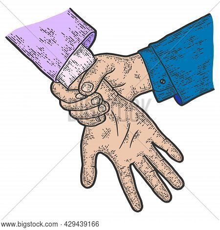 Hands, Catch A Thief, Court. Sketch Scratch Board Color.