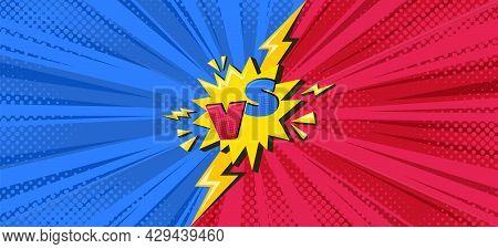 Superhero Halftoned Background With Lightning. Versus Comic Design With Yellow Flash. Vector Illustr