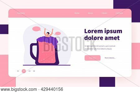 Guy Bathing In Glass Of Beer. Tiny Person Sinking In Alcoholic Beverage. Flat Vector Illustration. A