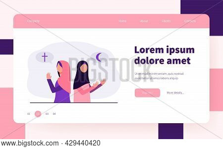 Believing Christian And Islam Women Praying To God. Belief, Worship, Church Flat Vector Illustration