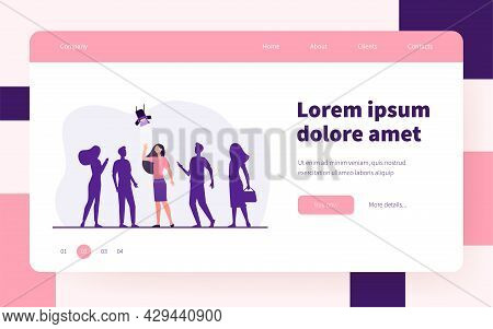 Candidate Winning Competition For Job. Woman Under Spotlight, Group In Shade. Flat Vector Illustrati
