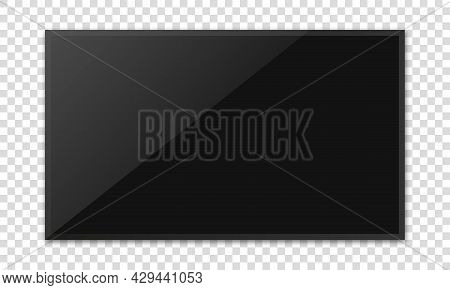 Realistic Television Screen On Transparent Background. Tv, Modern Blank Screen Lcd, Led