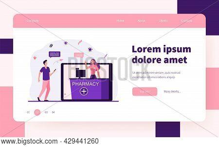 Positive Guy Buying Medicines In Online Drug Store. Tablet, Order, Internet Flat Vector Illustration