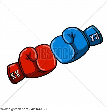 Fist Fight. Cartoon Drawn Illustration. Sport Equipment. Fight And Hit. Punch And Combat.
