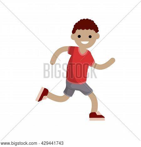 Young Man In Shorts And Grey T-shirt. Running And Sports. Movement And Walking. Cartoon Flat Illustr