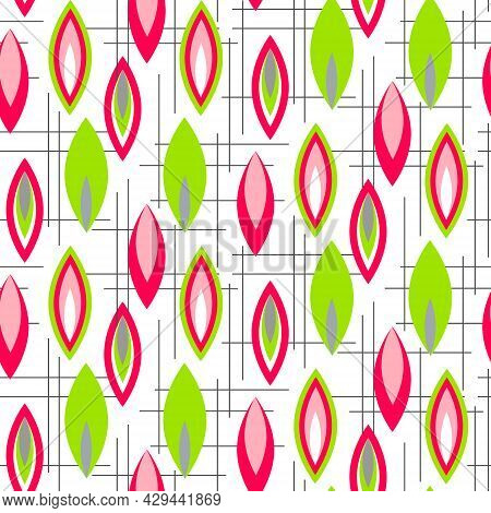 Abstract Pattern With Elongated Ovals. Bright Print For Use In Textiles, Covers And Prints, Packagin