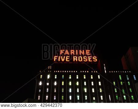 Montreal Quebec Canada. August 2021. Icon Of The Industrial Heritage Of Montreal, Neon
