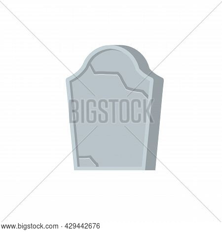 Gravestone Or Tombstone. Element Of Halloween And Death. Grave In Cemetery. Funeral And Burial. Old