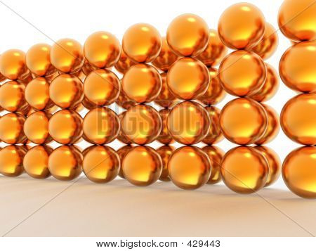 Wall Of Gold Spheres