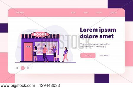 Smiling People Standing In Line To Book Store. Shop, Study, Novel Flat Vector Illustration. Educatio