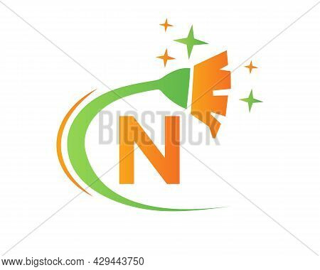 Cleaning Logo With N Letter Concept. House Clean And Broom Logo. N Letter Maid Logo Design