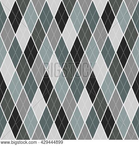 Seamless Background Argyle Pattern. Green Gray Color Tone Tartan Plaid. Texture Design For Apparel,