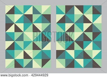 Abstract Geometric Pattern Background. Bauhaus Art Style Brown And Green Color. Triangle And Square