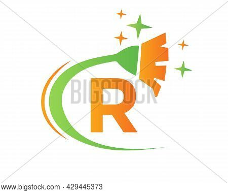Cleaning Logo With R Letter Concept. House Clean And Broom Logo. R Letter Maid Logo Design
