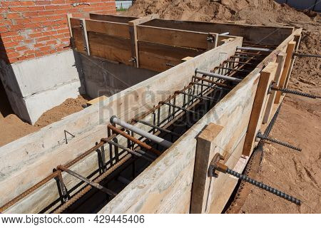 Panel Formwork For The Construction From Wooden Boards. Concrete Works. Installation Of A New Founda