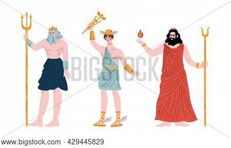 Ancient Greek God With Poseidon And Hermes Vector Set
