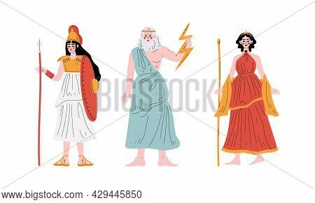Ancient Greek God With Zeus Holding Lightning Bolt And Athena With Shield And Spear Vector Set