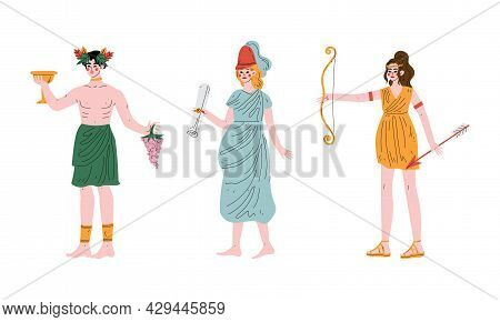 Ancient Greek God With Dionysus Holding Drinking Cup And Grape Vine And Artemis With Hunting Bow And