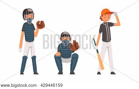 Boy As Baseball Player On Sport Field Playing Bat-and-ball Game Vector Set