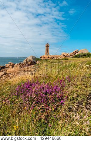 Lighthouse Mean Ruz Is A Building Built In Pink Granite, Port Of Ploumanach, In The Town Of Perros-g