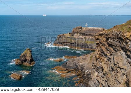 Coast Next To The Fort Des Capucins A Rocky, Clifftop Islet In The Town Of Roscanvel On The Crozon P
