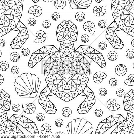 Seamless Pattern With Dark Contour Geometric Turtles And Seashells, Outline Animals On A White Backg