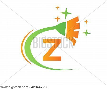Cleaning Logo With Z Letter Concept. House Clean And Broom Logo. Z Letter Maid Logo Design