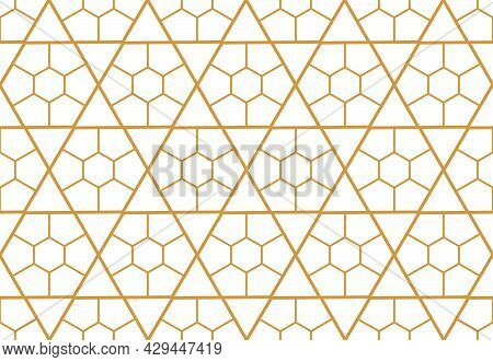 Abstract Geometric Pattern. A Seamless Vector Background. White And Gold Ornament. Graphic Modern Pa