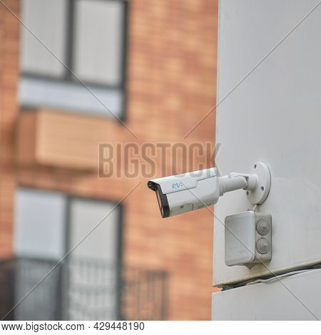 Video Surveillance Camera On The Window Building, Monitoring The Security Of A Residential House - M