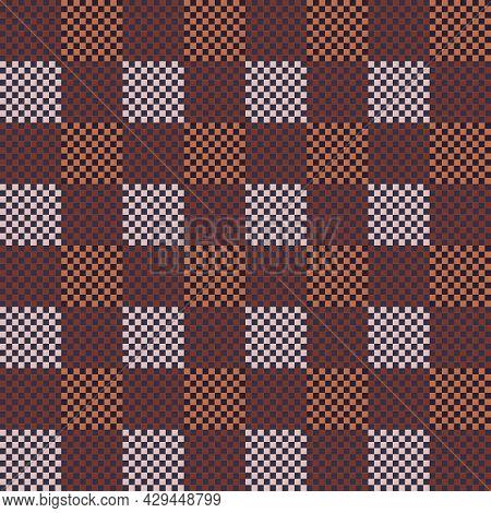 Seamless Checkerboard Pattern In Light Brown, Terracotta Tones For Prints On Woolen, Flannel, Knitte