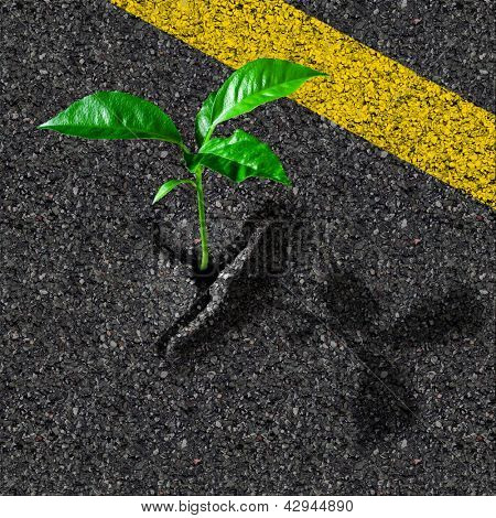 Sprout from asphalt hole poster