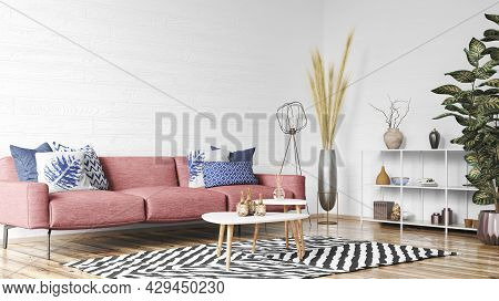 Red Sofa In Modern Scandinavian Living Room With White Stucco Walls. Modern Interior Home Design Wit