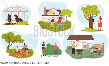 Set Of Male And Female Characters Spending Time At Summer Cottage Together. Collection Of Man, Woman