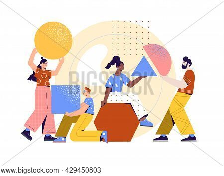 Male And Female Characters Organizing Abstract Geometric Shapes Together On White Background. Men An