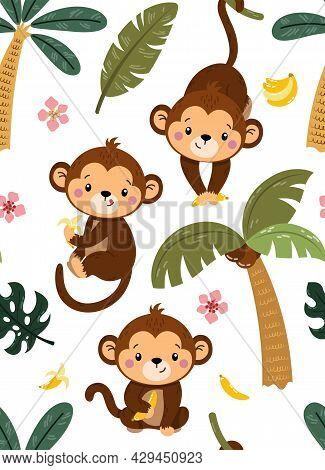 Cute Seamless Childish Pattern With Cute Monkeys Swinging From Palms On White Background. Jungle Chi