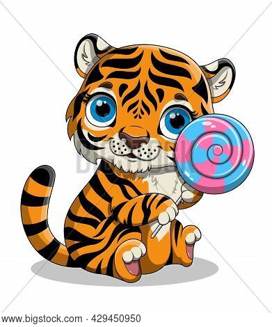 Cute Hand Drawn Baby Tiger With Big Blue Eyes And A Lollipop On White Background. Beautiful Colorful