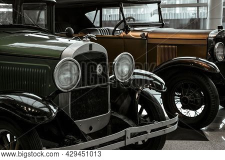 4 June 2019, Moscow, Russia: Grill And Headlights Of American Car Willys Overland 96a 1929. Classica