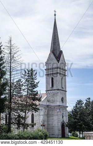 Petrosani, Hunedoara, Romania -  July 11, 2021:  Saint Barbara ( Sf. Varvara ) Church  On July 11, 2
