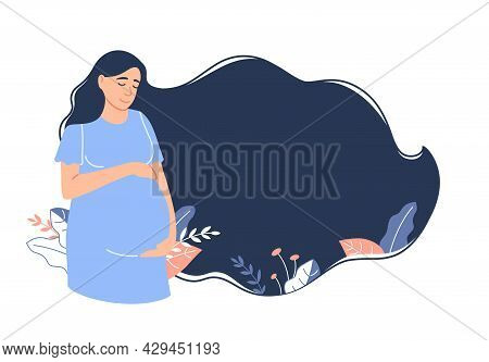 Flat Pregnancy Background. Young Caucasian Smiling Pregnant Woman With Long Dark Hair Holding Belly.