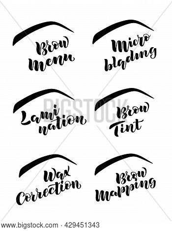 Hand Written Lettering With Name Of Brow Bar's Services Isolated On White Background For Flyer, Web