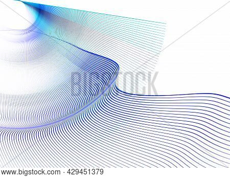 Blue Wavy And Straight Lines Create Airy Smooth Planes On A White Background. Abstract Fractal Backg