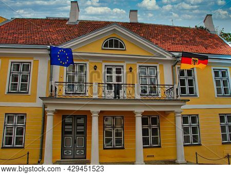 German Embassy In Tallinn With Waving Flags