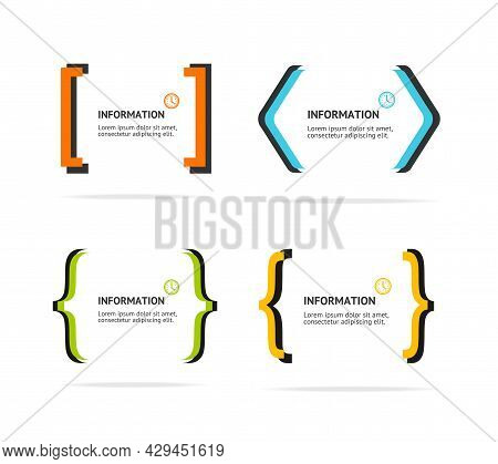 Banner Geometry Frame Bracket Set Abstract Advertising Design On A White Background. Vector Illustra
