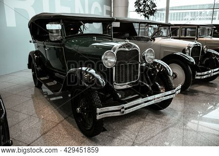 4 June 2019, Moscow, Russia: Side View Of American Car Ford A Phaeton 1929. Classical Retro Cars Of